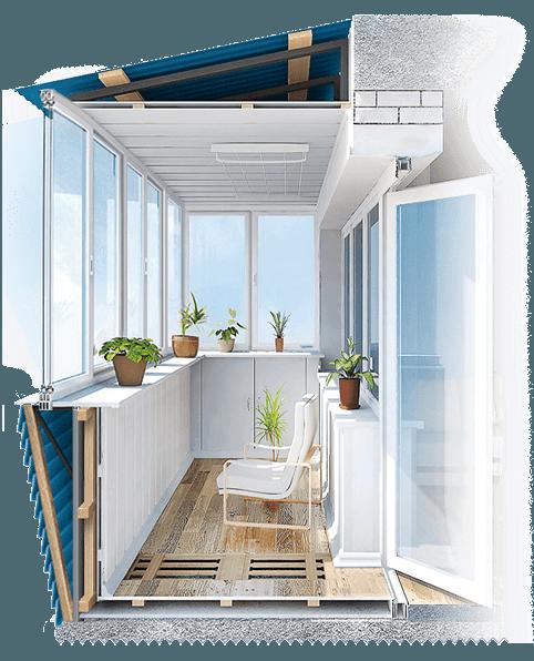 пример выноса балкона по плите, полу - фото